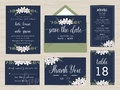 Set of wedding suite template decorate with flower in navy blue color. Royalty Free Stock Photo