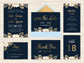 Set of wedding suite template decorate with wreath flowers. Royalty Free Stock Photo