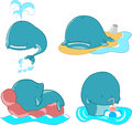 Set of whales vector cartoon happy characters Stock Photos