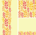 Set of wheat plants seamless pattern and borders backgrounds with hand drawn elements Stock Photo