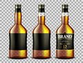 Set of whiskey, rum, bourbon or cognac glass bottle with Alcohol and without. Transparent bottles Drink in a realistic