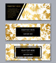 Set of white, black and gold banners templates. Modern abstract Royalty Free Stock Photo