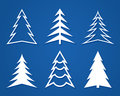 Set of white Christmas trees. Flat design.