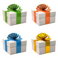 Set of white gift boxes Royalty Free Stock Photo