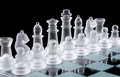 Set of white glass chess pieces Stock Photos