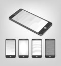 Set of white and gray vector backgrounds on smartphone layout