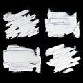 Set of white oil paint textured brush strokes Royalty Free Stock Photo