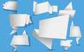Set of white origami tags, banners and labels on a  blue backgro Royalty Free Stock Photo