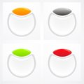 Set white red green orange plastic buttons Stock Photos