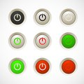 Set of white red green orange plastic buttons Royalty Free Stock Photo