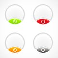 Set of white red green orange plastic buttons Royalty Free Stock Photos