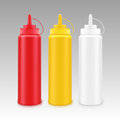 Set of White Red Yellow Mustard Ketchup Bottle