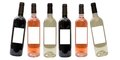 Set of white, rose, and red wine bottles Royalty Free Stock Photo