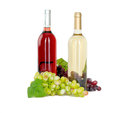 Set of white and rose wine bottles glas and cheese red and white grapes isolated on background Stock Image