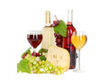 Set of white and rose wine bottles glas and cheese red and white grapes isolated on background Stock Photos