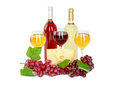 Set of white and rose wine bottles glas and cheese red and white grapes isolated on background Royalty Free Stock Photo