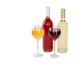 Set of white and rose wine bottles glas isolated on white background Stock Photos