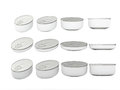 Set of white round bottom oval tin cans in various sizes clippi general can packaging with blank label for variety food product Stock Photography