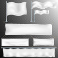 Set of 8 White textile banner and flags. EPS 10
