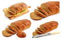 Set of whole wheat breads and tableware isolated Royalty Free Stock Photography