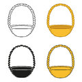 Set of wicker baskets on a white background empty basket isolated vector Stock Photography