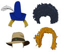 Set of wigs with hats