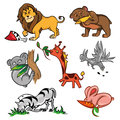 Set of wild african animals with africa beasts savanna pictures isolated on white background vector illustration Royalty Free Stock Photo