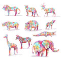 Set of wild animal safari in diamond shape colorful Stock Photography