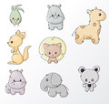 Set of wild animals colored cartoon Stock Image