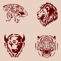 Set wildlife theme tattoos. Royalty Free Stock Photo