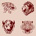 Set wildlife theme tattoos. Royalty Free Stock Photo