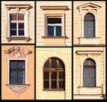 Set of Windows from Krakow, Poland Royalty Free Stock Photo