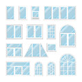 Set windows with transparent blue glass