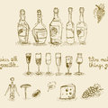 Set of wine bottles and glasses seamless isolated vector illustration Stock Photos