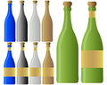 Set of Wine or Champagne Bottles Royalty Free Stock Photos