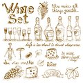 Set of wine elements Royalty Free Stock Photo
