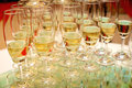 Set of wine glasses on the table celebrations Stock Photography