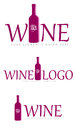 Set of wine logos illustrated different or signs isolated on white background Stock Photos
