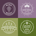 Set of wine signs badges and labels vector line illustration concept for bar menu party alcohol drinks celebration holidays winery Royalty Free Stock Photo