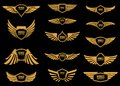 Set of wings icons in golden style. Design elements for logo, label, emblem, sign. Royalty Free Stock Photo