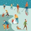 stock image of  Set of winter activities