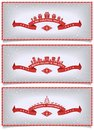 Set of winter banners with holidays design season s three red cards ribbon and composition the houses gifts christmas trees and Stock Images