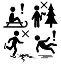 Set of Winter Caution Danger Information Flat Black Pictograms P Royalty Free Stock Photo