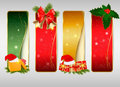 Set of winter christmas backgrounds. Vector Royalty Free Stock Photos