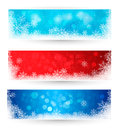 Set of winter christmas banners Stock Photos