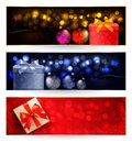 Set of winter christmas banners Stock Photo