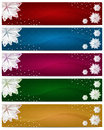 Set of Winter Christmas Horizontal Banners Royalty Free Stock Images