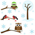 Set of winter elements Royalty Free Stock Photo