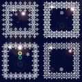 Set of winter frames from snowflakes. White cadres on dark blue background with glare Royalty Free Stock Photo