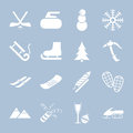 Set of winter holiday icons collections white Royalty Free Stock Photography